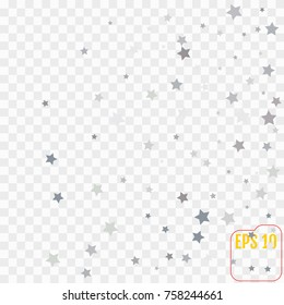 Silver stars confetti flying down over transparent background. Isolated