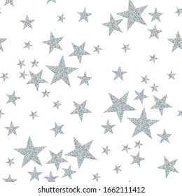 Silver stars on white background. Seamless pattern with glitter stars.