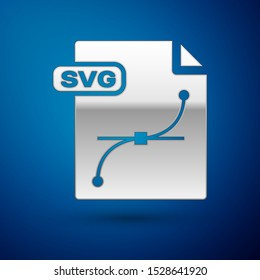 Silver SVG file document. Download svg button icon isolated on blue background. SVG file symbol.  Vector Illustration
