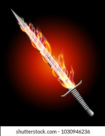 Silver sword in fire on a dark background vector illustration