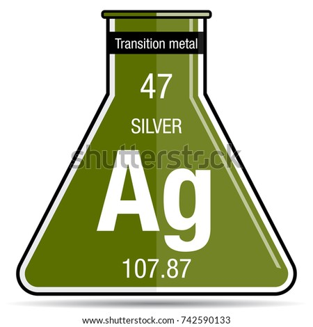 Silver Symbol On Chemical Flask Element Stock Vector Royalty Free