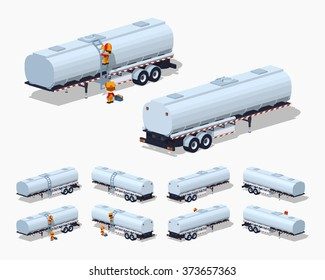 Silver tank-trailer. 3D lowpoly isometric vector illustration. The set of objects isolated against the white background and shown from different sides