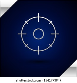 Silver Target sport for shooting competition icon isolated on dark blue background. Clean target with numbers for shooting range or shooting.  Vector Illustration
