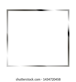 Silver thin square frame with shine and highlight on the white background. Perfect design for headline, logo and sale banner. Vector
