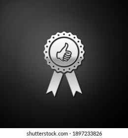 Silver Thumbs up on medal badge with ribbons icon isolated on black background. Long shadow style. Vector.