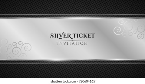 Silver ticket. Luxurious invitation. Ribbon banner on a black background with a pattern of mesh. Realistic metallic strip with an inscription. VIP invitation. Vector illustration