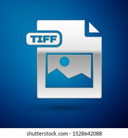 Silver TIFF file document. Download tiff button icon isolated on blue background. TIFF file symbol.  Vector Illustration