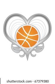 silver vector heart with basketball ball, basketball love