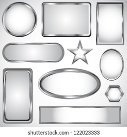 Silver vector label frame EPS 10