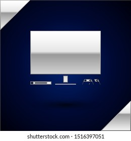 Silver Video game console icon isolated on dark blue background. Game console with joystick and lcd television.  Vector Illustration