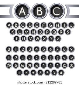 Silver vintage typewriter buttons alphabet