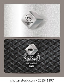 Silver VIP cards with rhombus and textured background