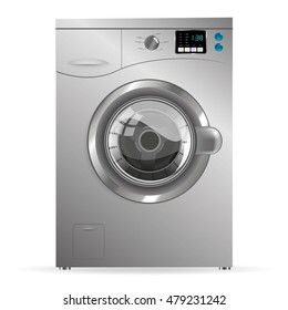 Silver Washing machine isolated on white background
