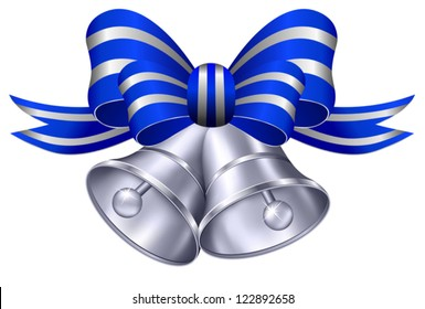 Silver Wedding Bells with Blue and Silver Ribbon
