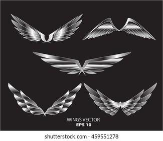 Silver wings eagle bird logo set on black background vector illustration.