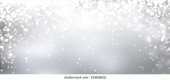 Silver winter abstract background. Christmas background with snowflakes and place for text. Vector.