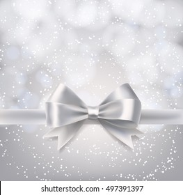 Silver winter background with falling snowflakes and ribbon bow. vector illustration