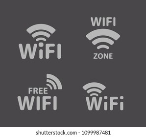 Silver wireless logo and wifi icon on black background