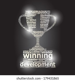 Silver word cloud cup prize