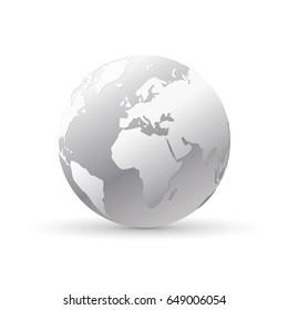 silver world earth globe