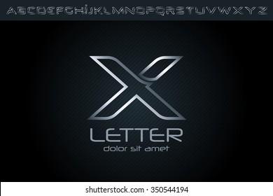 Silver X Letter Logo, alphabet logo design.