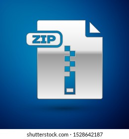 Silver ZIP file document. Download zip button icon isolated on blue background. ZIP file symbol.  Vector Illustration