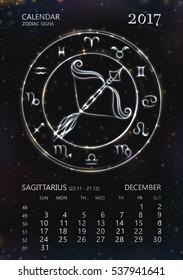 Silver Zodiac Calendar for 2017 year.12 zodiac symbols