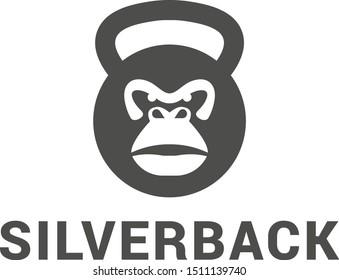 silverback  fitness logo design negative space