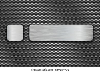 Silvered glass buttons on metal perforated background. Vector 3d illustration