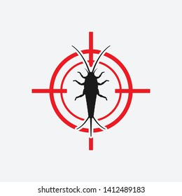 Silverfish icon red target. Insect pest control sign