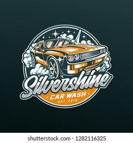 Silvershine Carwash Logo layered vector, Texts can be change.