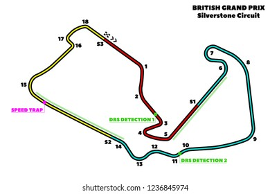 Silverstone Circuit, British Grand Prix circuit. Vector illustration of an race track