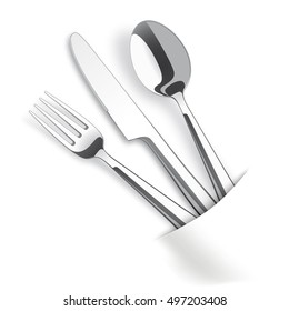 Silverware with white napkin on the table. Eps 10 vector file.