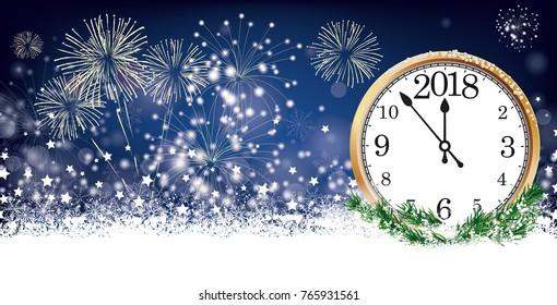 Silvester card header with clock 2018, snow, fireworks and stars on der dark background. Eps 10 vector file.