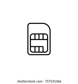 Sim card, chip, mobile slot vector illustration simple line icon