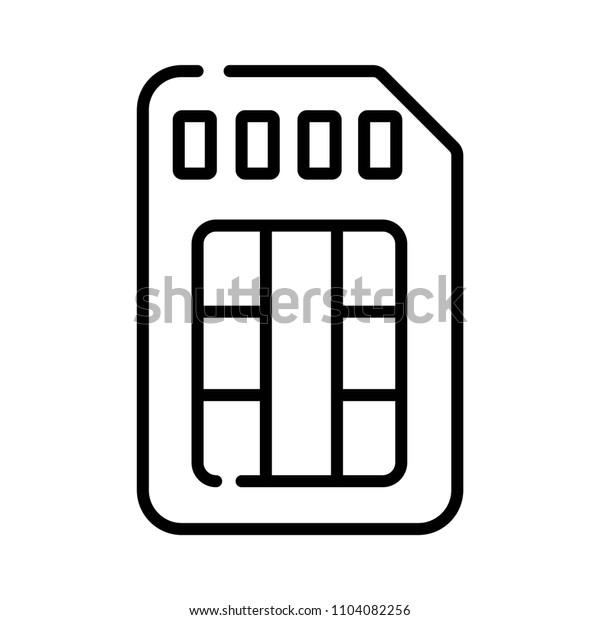 Sim card, chip, mobile slot vector illustration simple line icon
