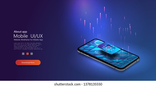 SIM card chip sign. Embedded SIM concept. 5G Sim Card. New mobile communication technology. Futuristic projection sim card Vector illustration