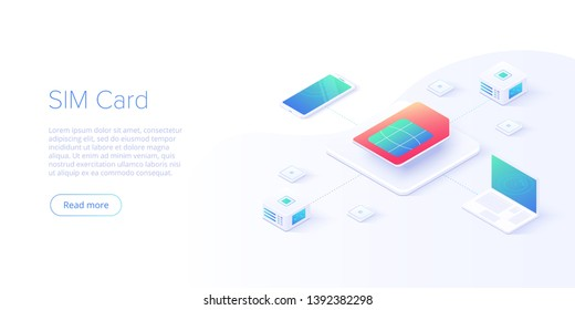 SIM card concept in isometric vector illustration. Mobile network with esim microchip technology. Web banner layout template.