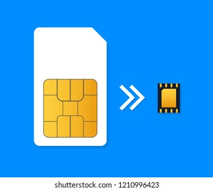 SIM Card and eSIM Embedded SIM card icon symbol concept. SIM card evolution concept. Vector stock illustration.