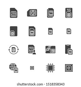 Sim card flat glyph icons set. Micro, nano simcard, new eSim technology, mobile phone chip vector illustrations. Black signs for electronic store. Silhouette pictogram pixel perfect.