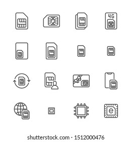 Sim card flat line icons set. Micro, nano simcard, new eSim technology, mobile phone chip vector illustrations. Outline signs for electronic store. Pixel perfect. Editable Strokes.