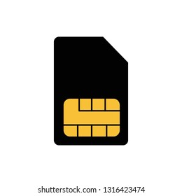 SIM card icon in flat design. Vector Illustration. black smartcard icon isolated on light background.
