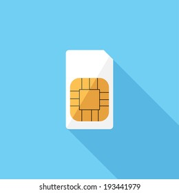 Sim card icon. Flat design style modern vector illustration. Isolated on stylish color background. Flat long shadow icon. Elements in flat design.