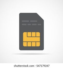 SIM card icon in flat design. Vector Illustration. Gray smart-card icon isolated on light background.