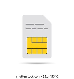 SIM card icon in flat design. Vector Illustration. White smartcard icon isolated on light background.