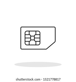 SIM Card icon in flat style. Outline SIM card symbol for your web site design, logo, app, UI Vector EPS 10.