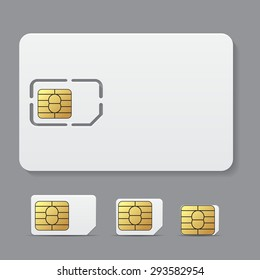 Sim card object realistic vector icon