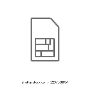 Sim card outline icon. Simple sim card vector icon.