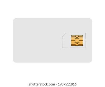 Sim card plastic mockup. Phone isolated card of cellular connection. Mock up with white card and orange chip of micro and nano sim. Vector EPS 10.