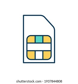 Sim card RGB color icon. Subscriber identification module. Carrier network. Portable memory chip with cell phone user information storage. Plastic card for phone. Isolated vector illustration